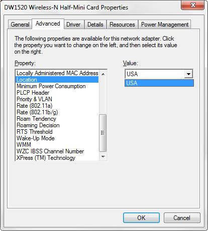 Dell DW1520 Wireless-n mini-half card location